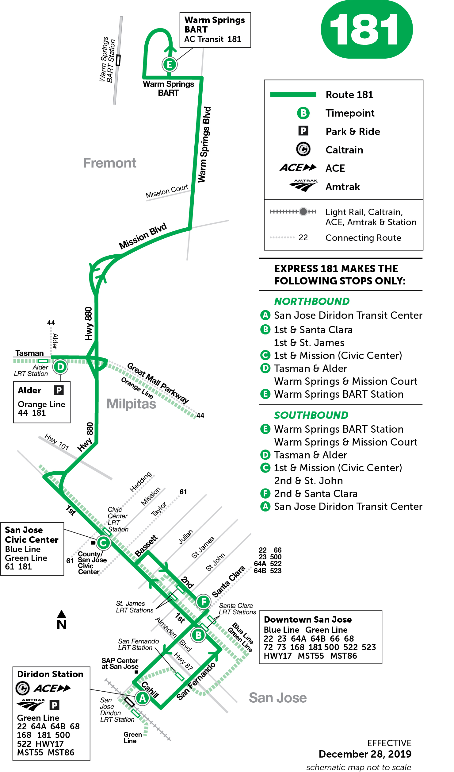 Schematic map of route 181 effective Dec 28, 2019