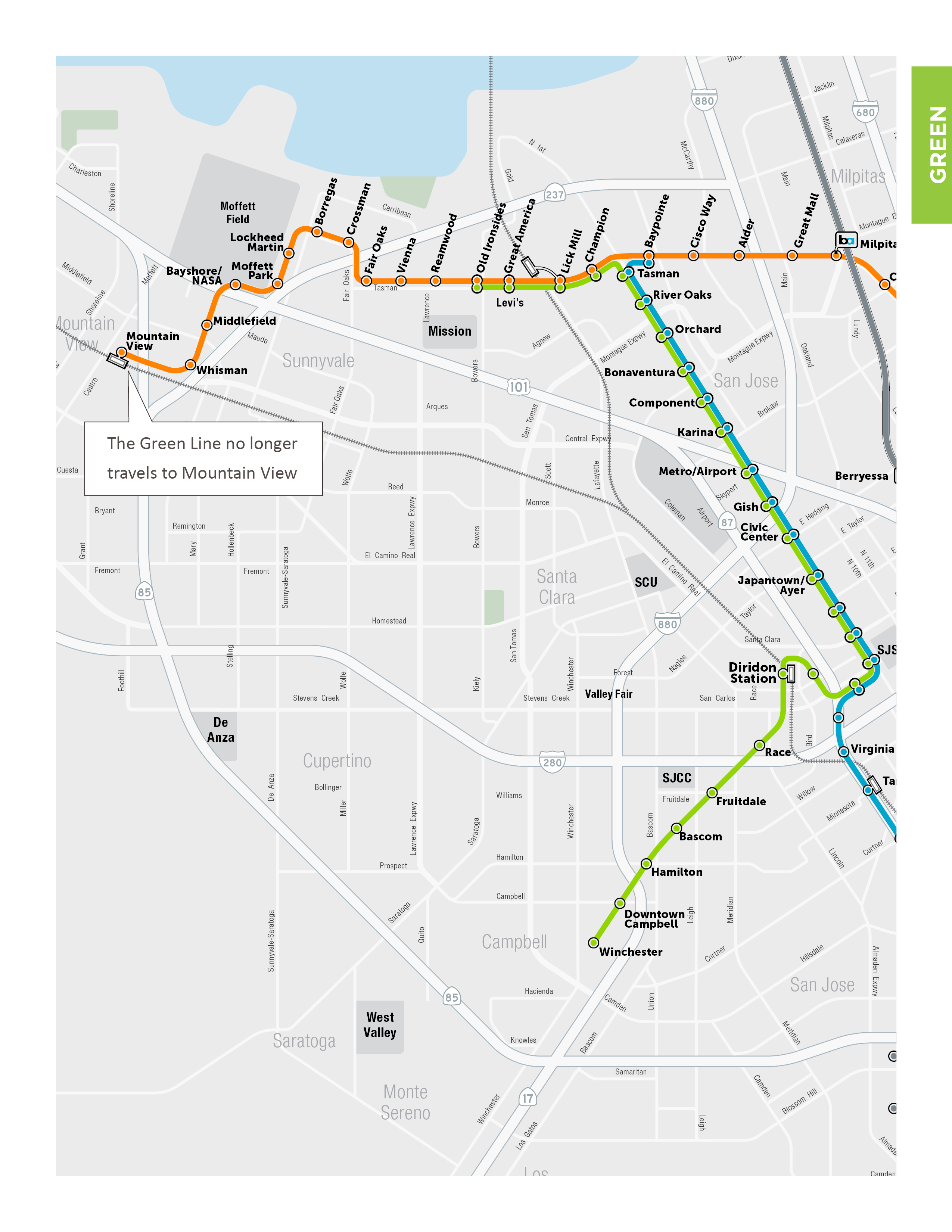 Map showing Green Line in the New Transit Service Plan running between Winchester and Old Ironsides stations