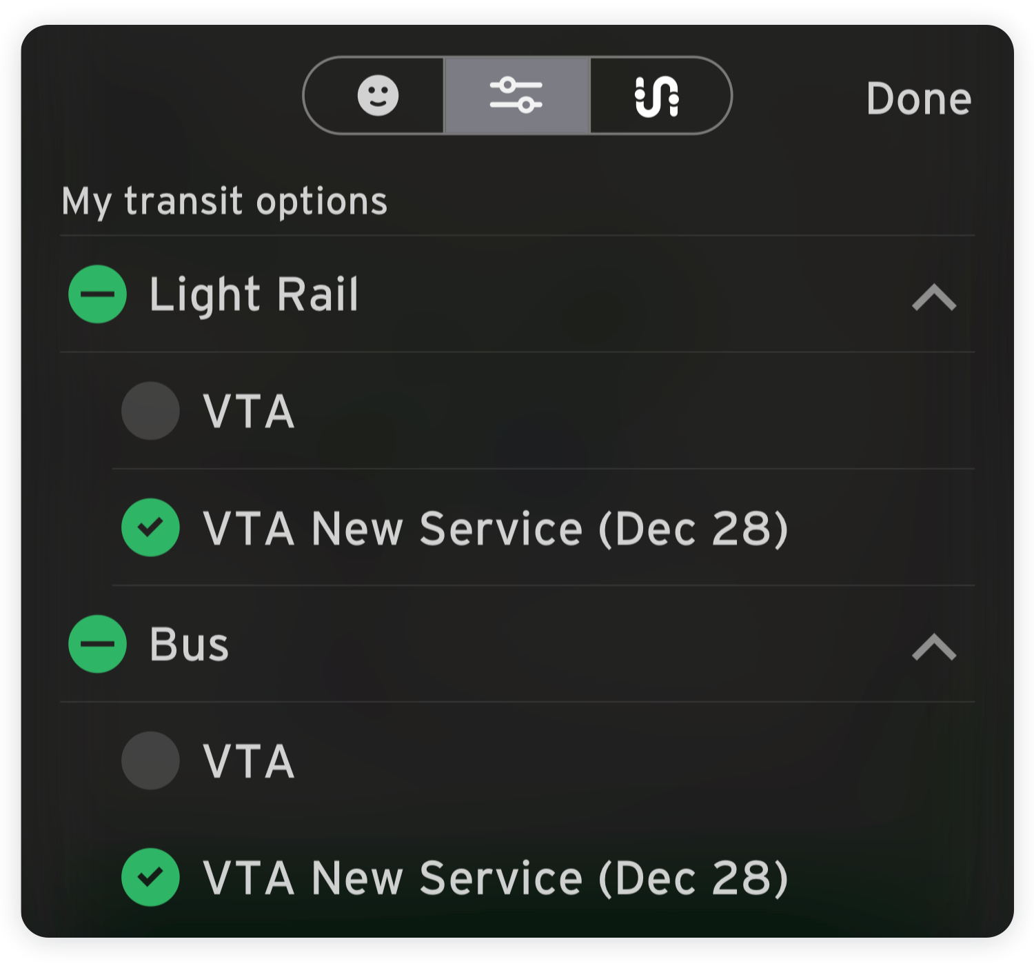 screenshot of Transit app setting showing how to change from current service to New Service