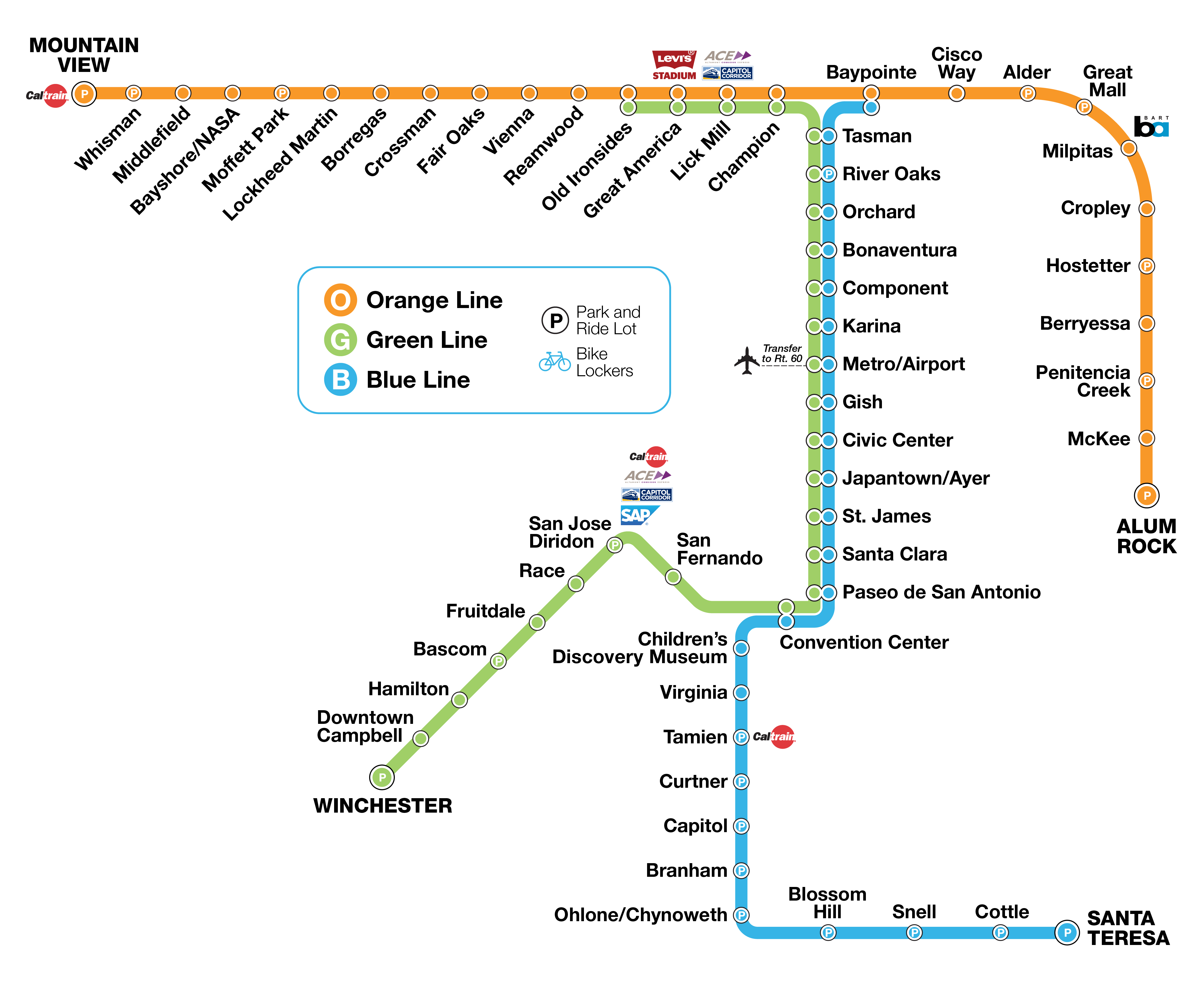 VTA light rail system map